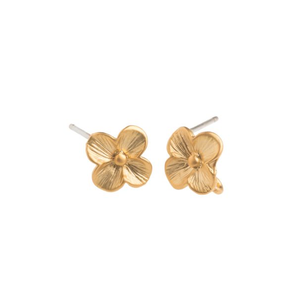 Tiny Gold Flower Earrings - GEE517 - Harlow Jewelry - 1