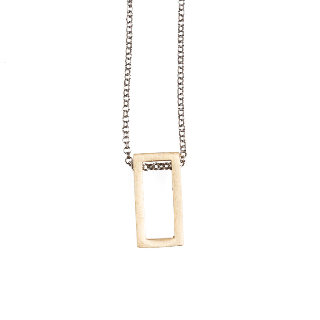 Brass Rectangle Necklace - GEN507 - Harlow Jewelry - 1