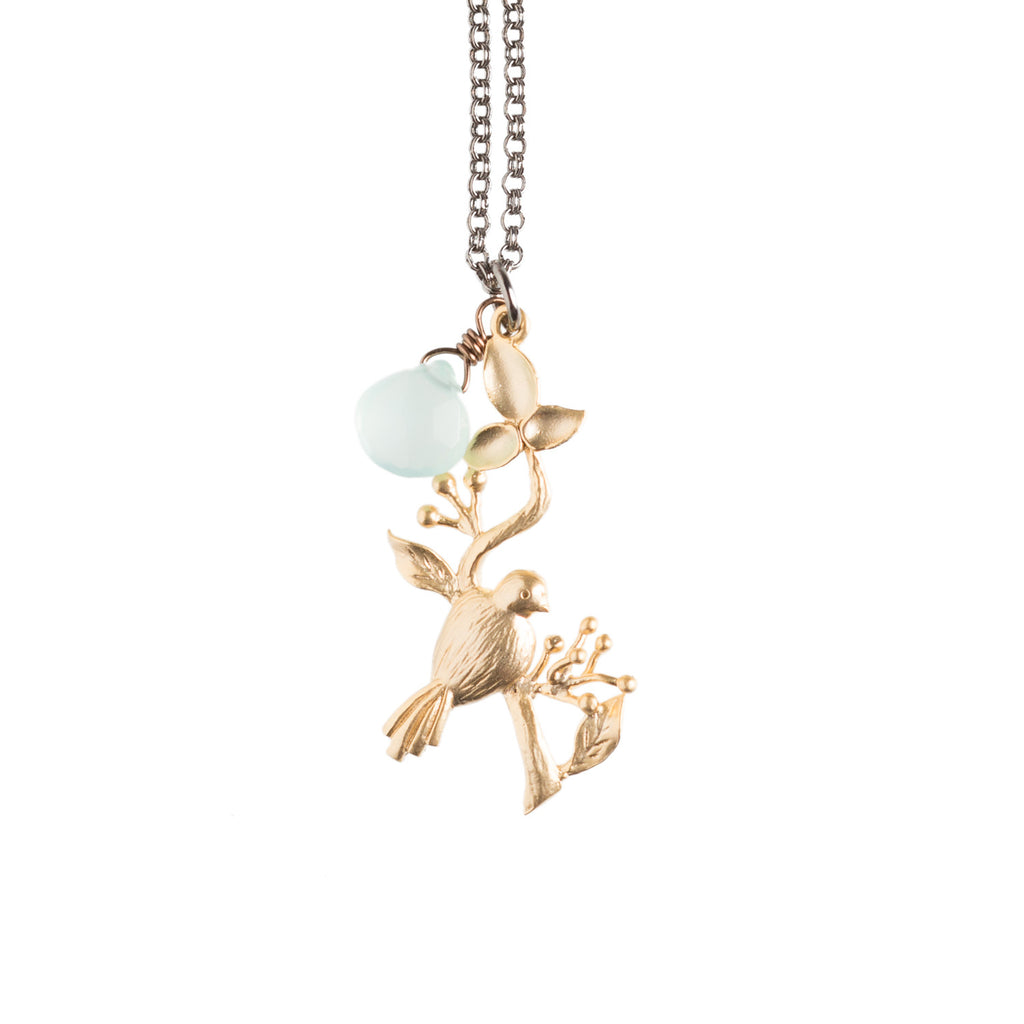 Bird on a Hanging Branch Necklace - GEN514 - Harlow Jewelry - 1