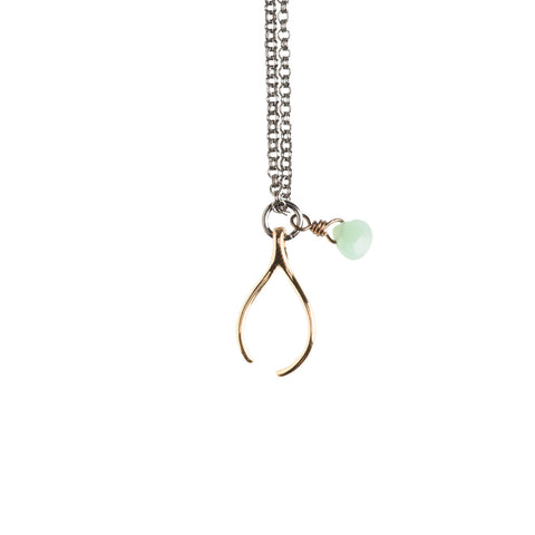 Gold Wishbone Necklace - GEN516