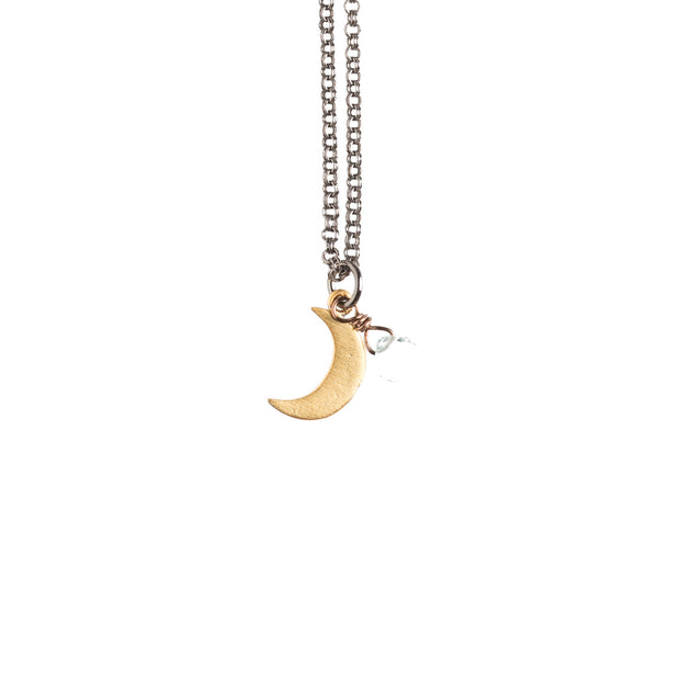 Tiny Moon Necklace - GEN519 - Harlow Jewelry - 1