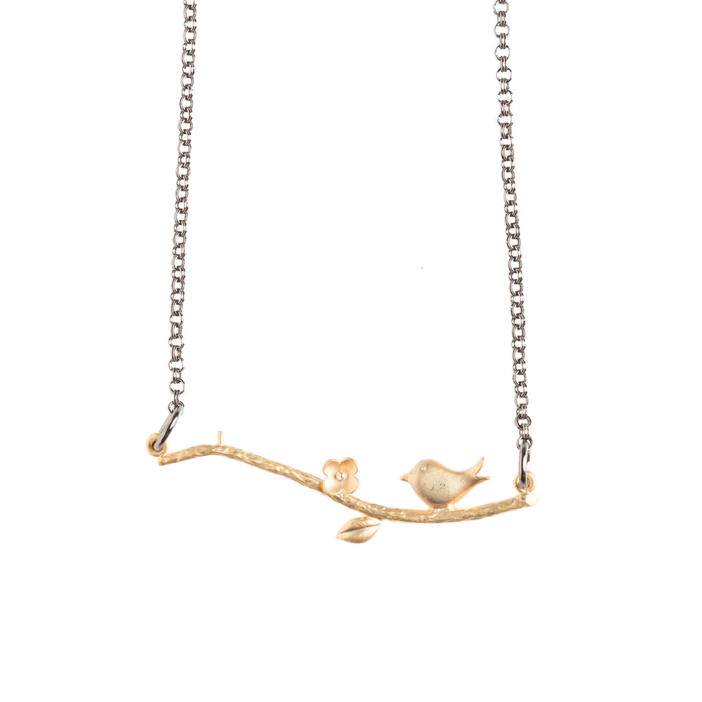 Little Bird On a Branch Necklace - GEN521 - Harlow Jewelry - 1