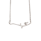 Silver Little Bird On a Branch Necklace - GEN522 - Harlow Jewelry