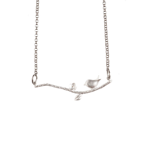 Silver Little Bird On a Branch Necklace - GEN522