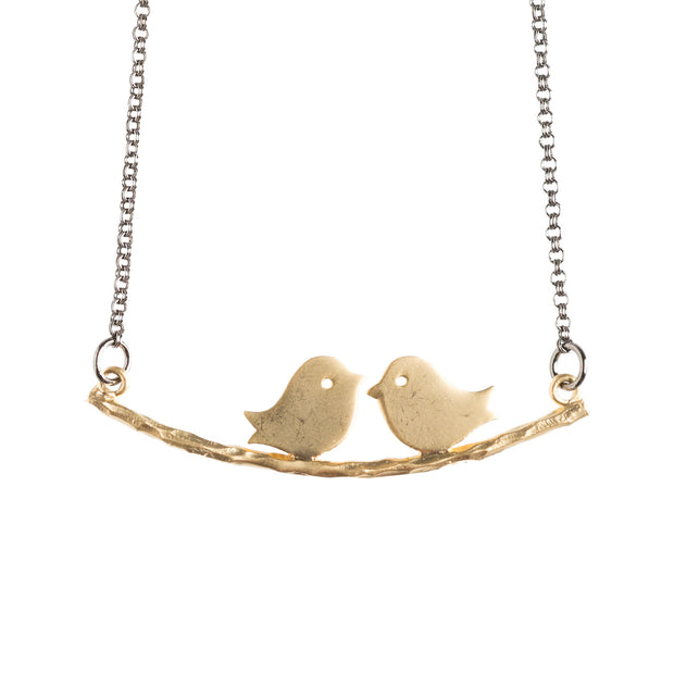 Lovebirds Gold Necklace - GEN107 - Harlow Jewelry - 1