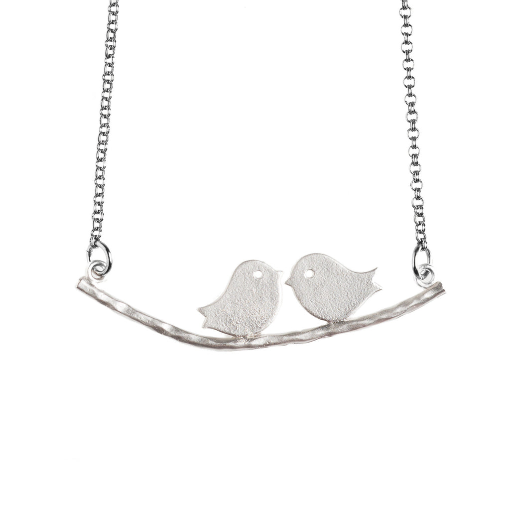 Silver Lovebirds Necklace - GEN524 - Harlow Jewelry - 1