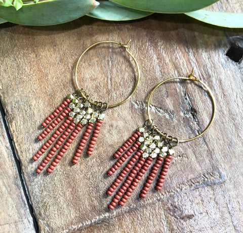 Rust & Brass Tassel Earrings