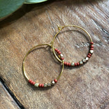 Rust & Brass Gold Ring Earrings - JHE81