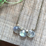 3 Labradorite Gemstone & Brass Necklace - JHN96