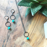 Oxidized Ring and Turquoise Earrings - JHE11