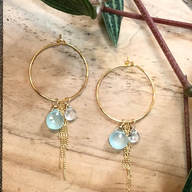 Riley Earrings - Mint Chalcedony