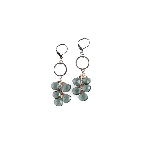 Deep Ocean Quartz Cascade Earrings - NHE02