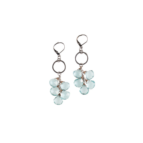 Copper Rings & Pyrite Gemstone Earrings - JHE28