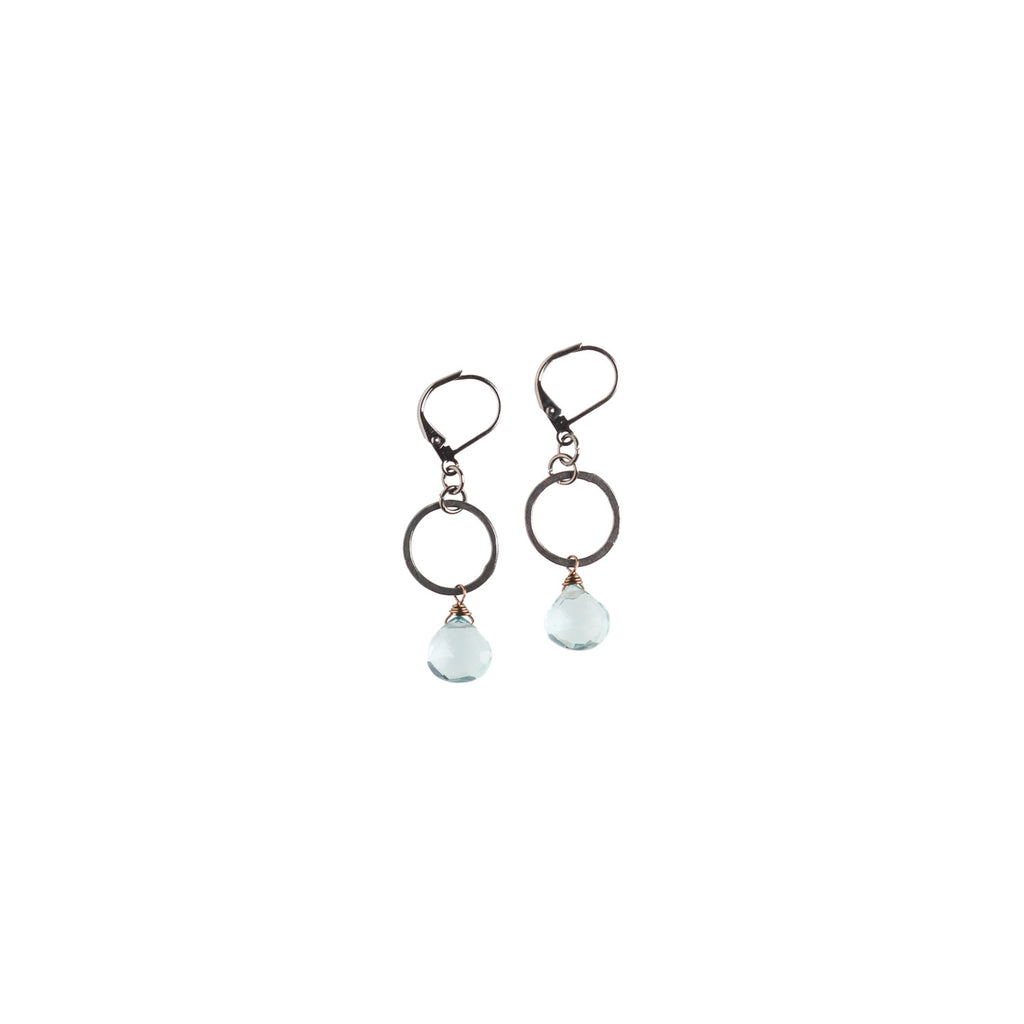 Ring With Aquaquartz Drops Earrings - NHE06 - Harlow Jewelry