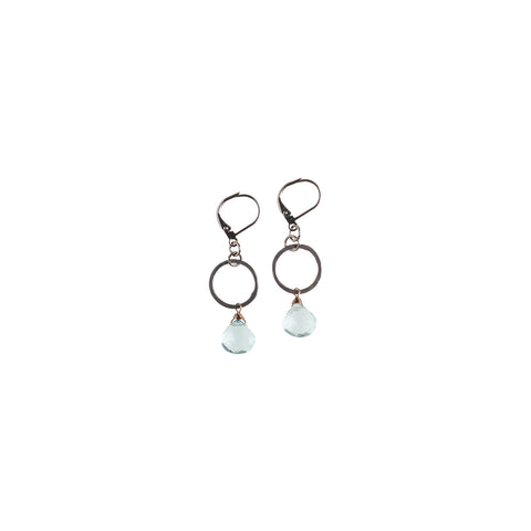 Ring With Aquaquartz Drops Earrings - NHE06