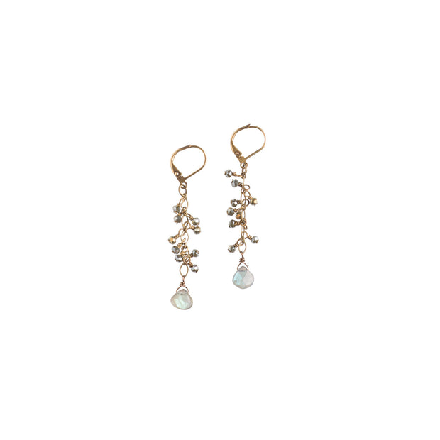 Labradorite With Crystal Cascade Earrings - NHE07 - Harlow Jewelry