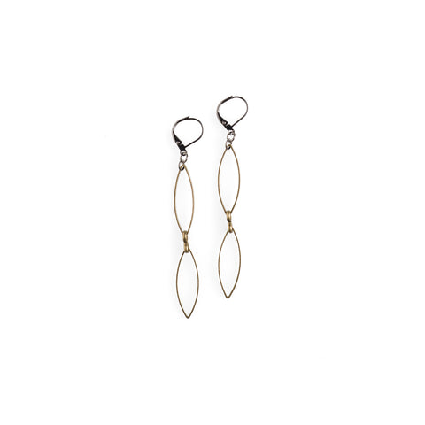 Black With Brass Gold Ring Earrings - JHE72