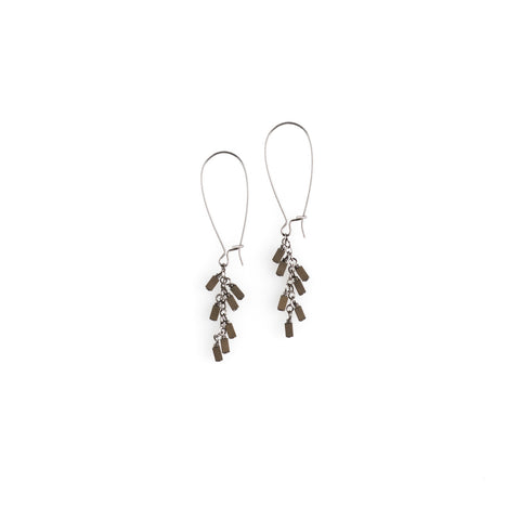 Rectangle Hematite Cascade Earrings - NHE31