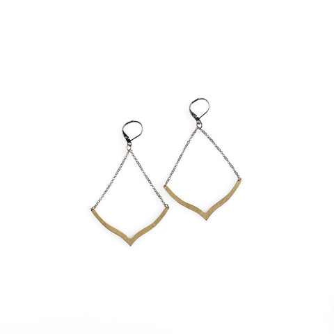 Brass Chevron Earrings - NHE34
