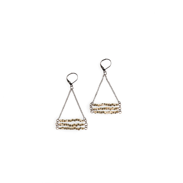 Brass Hexagon Stack Earrings - NHE37 - Harlow Jewelry