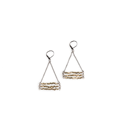Brass Hexagon Stack Earrings - NHE37