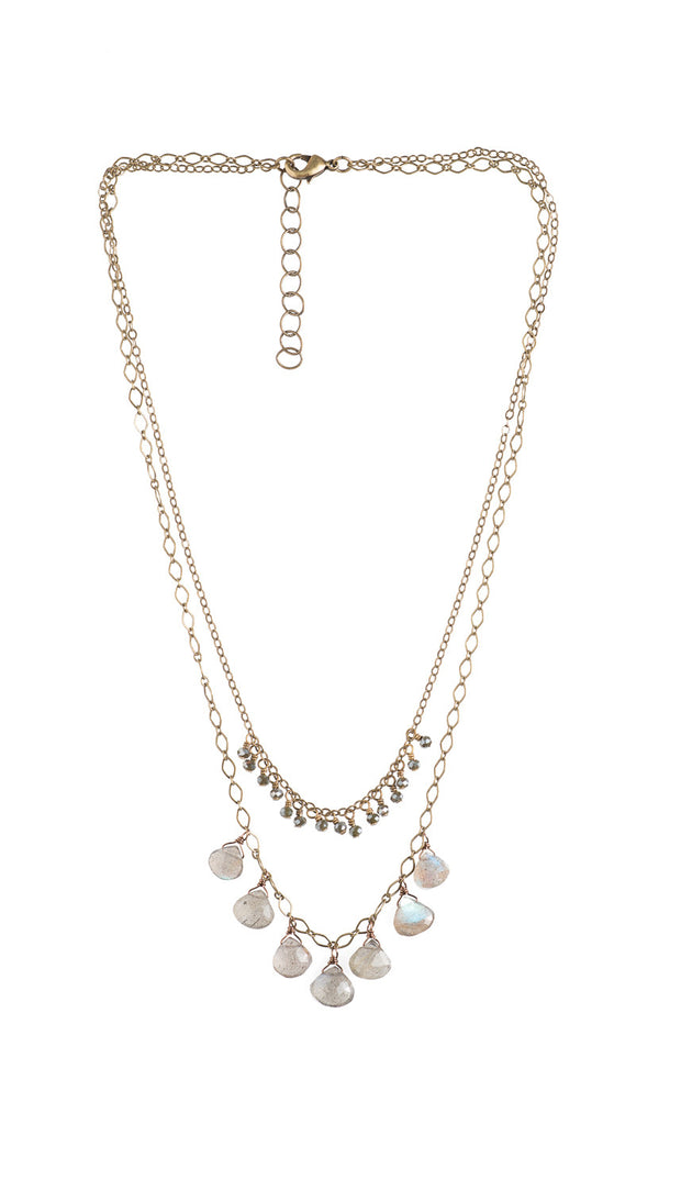 7 Labradorite Drops And Tiny Crystal Necklace - NHN07 - Harlow Jewelry