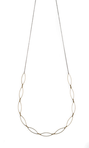 3 Brass Pendant and Sage Crystal Necklace - HXN30