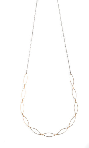 2 Brass Bar Necklace With Peach & Black - JHN82
