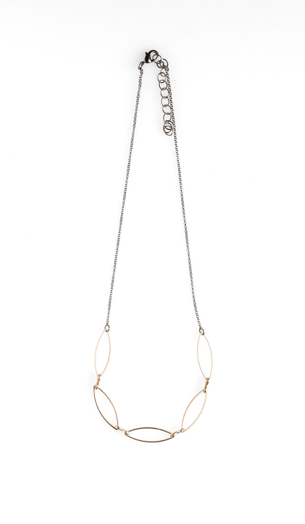 5 Gold Marquise Necklace - NHN22 - Harlow Jewelry