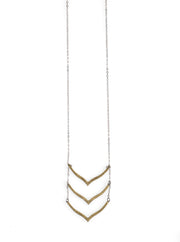 3 Brass Chevron Necklace - NHN48 - Harlow Jewelry