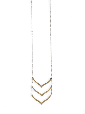 3 Brass Chevron Necklace - NHN48