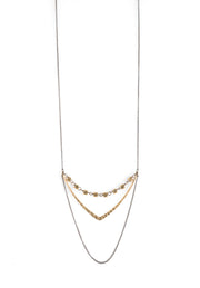 Gold Chevron Necklace With Brass Hexagons harlow jewelry handmade jewelry