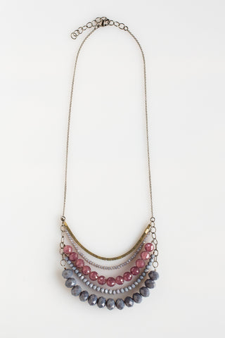 5 Layer Spanish Gray And Lilac Crystal Necklace - NHN55