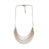 6 Layer Gold Champagne Crystal And Brass Necklace - NHN59 - Harlow Jewelry