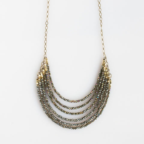 6 Layer Midnight Juniper Crystal And Brass Necklace - NHN60