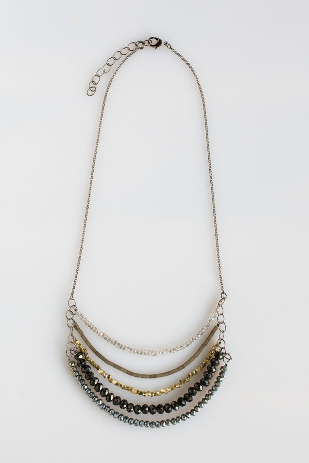 5 Layer Midnight Juniper And Charcoal Crystal Necklace - NHN61 - Harlow Jewelry