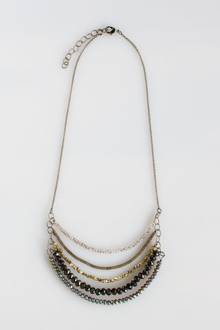 5 Layer Midnight Juniper And Charcoal Crystal Necklace - NHN61