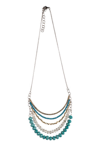 5 Layer India Blue And Persian Green Crystal Necklace - NHN62