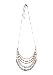 5 Layer Gray Crystal And Brass Necklace - NHN63 - Harlow Jewelry