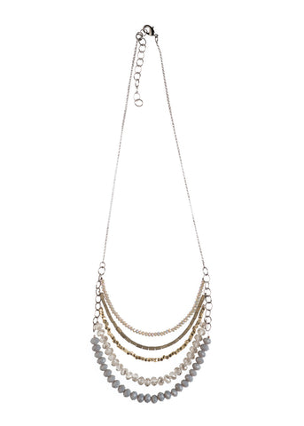 5 Layer Gray Crystal And Brass Necklace - NHN63