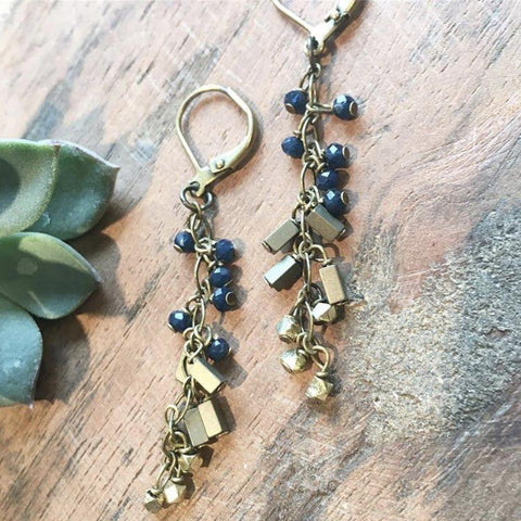 Deep Blue Crystal and Hematite Tassel Earrings - JHE18