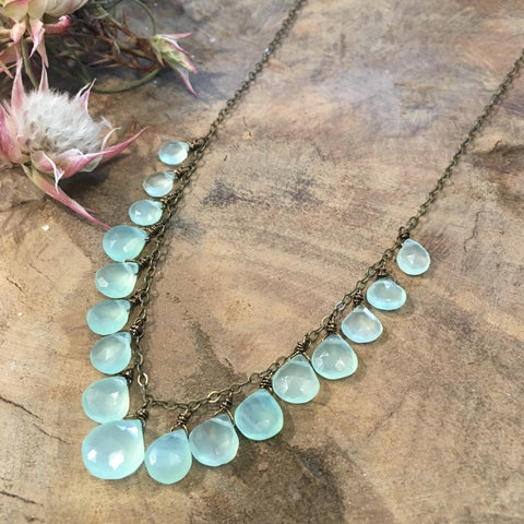 Single Strand Ocean Blue Crystal Necklace - NHN29