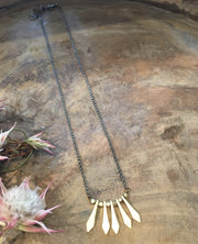 gold diamond wand necklace handmade Harlow jewelry