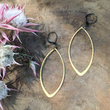 handmade earrings gold marquise Harlow jewelry Portland