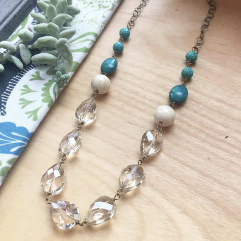 Champagne Crystal and Turquoise Necklace - JHN15