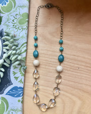 handmade turquoise and crystal necklace Harlow jewelry Portland