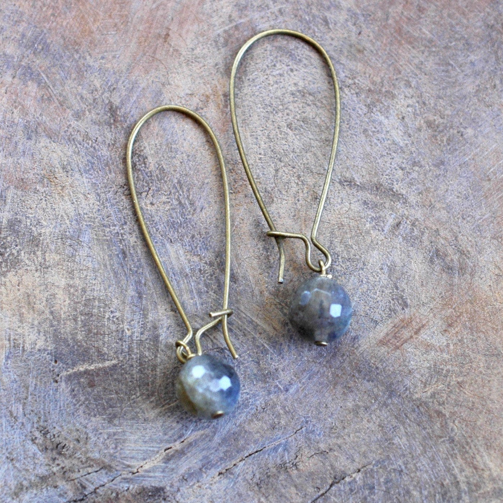 Single Faceted High Grade Labradorite Earrings harlow jewelry handmade jewelry