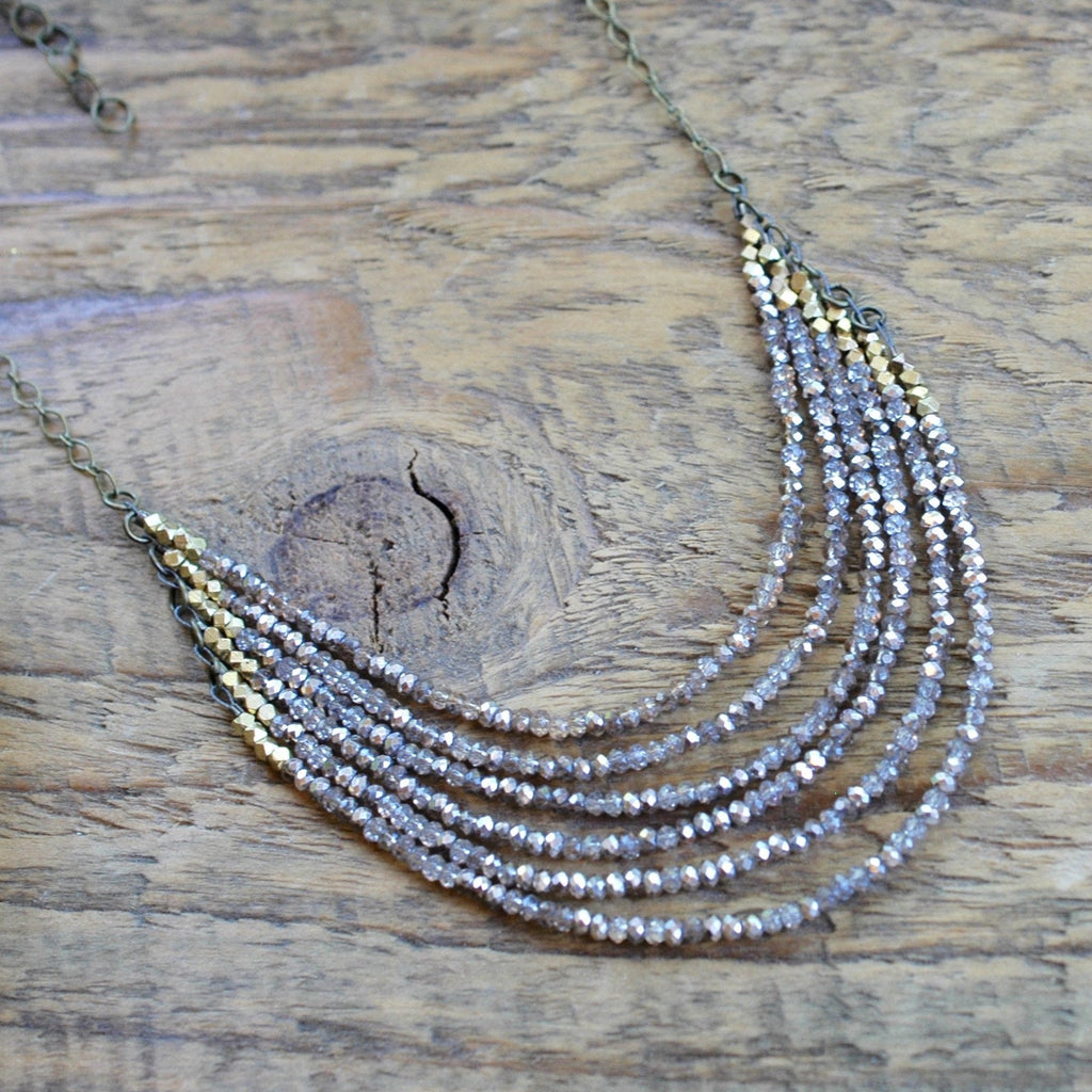 6 Layer Gold Champagne Crystal And Brass Necklace harlow jewelry handmade jewelry