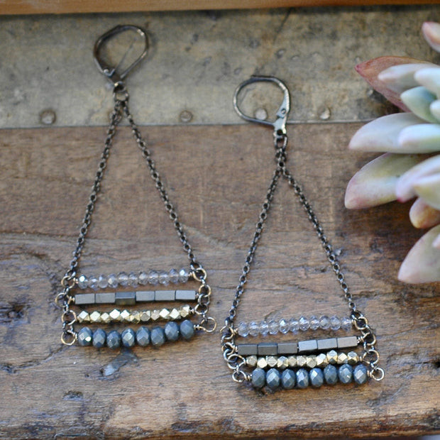 4 Layer Midnight Juniper Stacked Earrings harlow jewelry handmade earrings