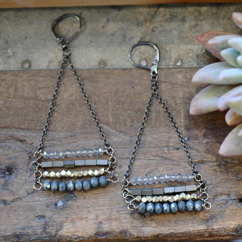 4 Layer Midnight Juniper Stacked Earrings - HXE28